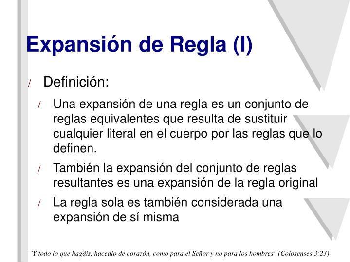 Expansión de Regla (I)