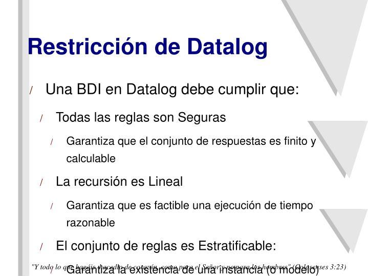 Restricción de Datalog