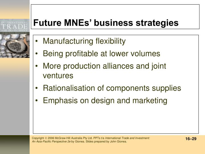 Future MNEs' business strategies
