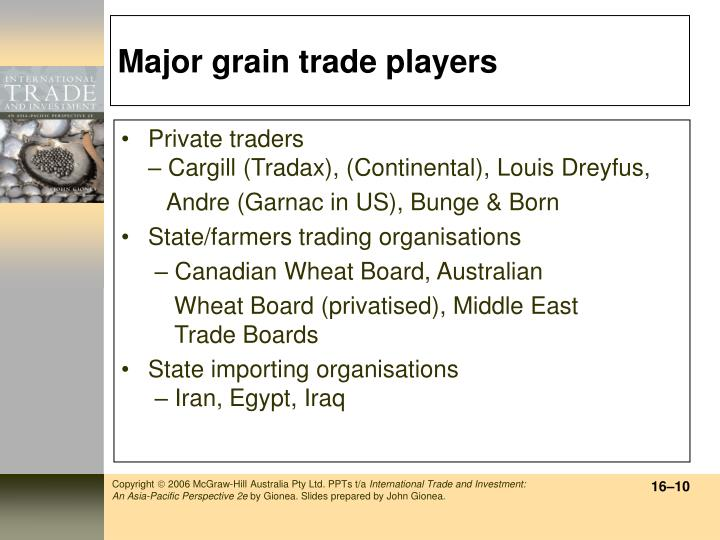 Major grain trade players