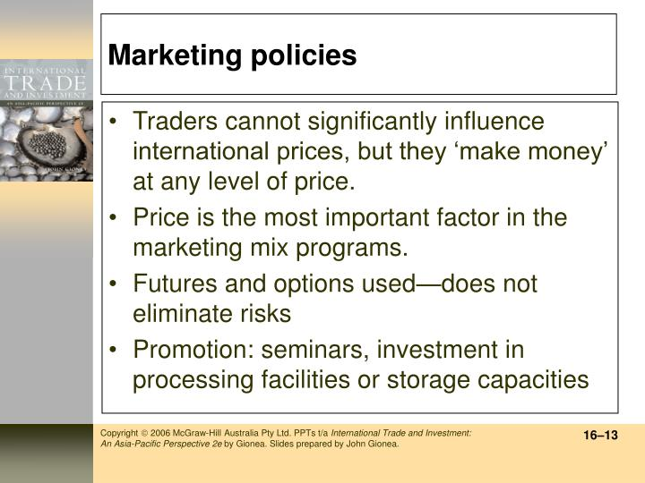 Marketing policies