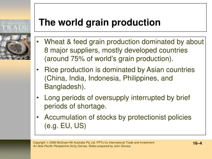 The world grain production