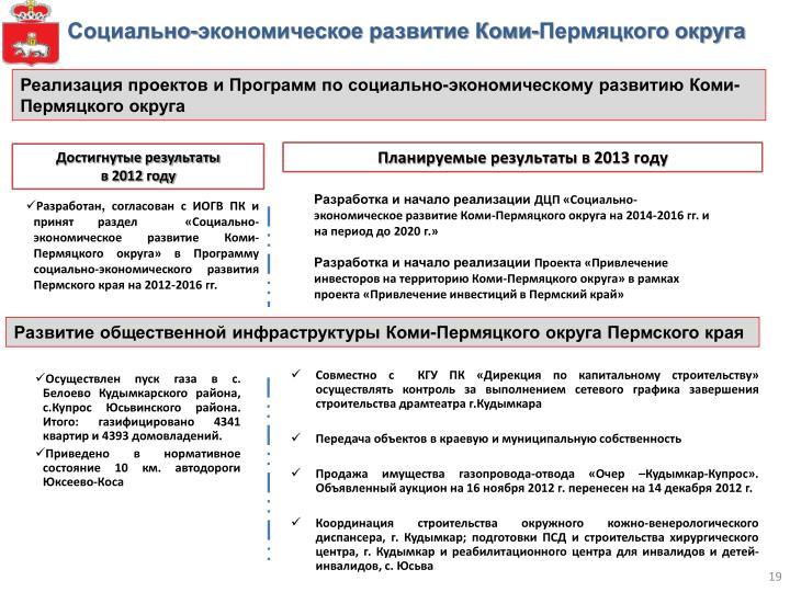 Социально-экономическое развитие Коми-Пермяцкого округа
