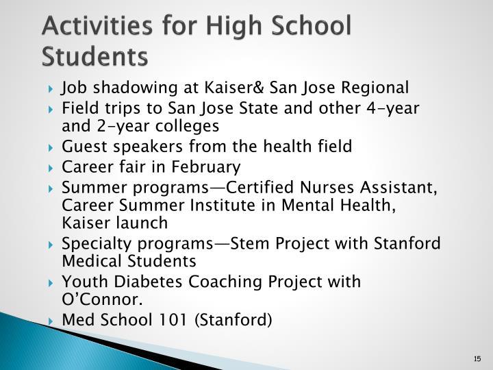 Activities for High School Students