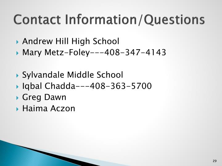 Contact Information/Questions