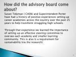 how did the advisory board come about