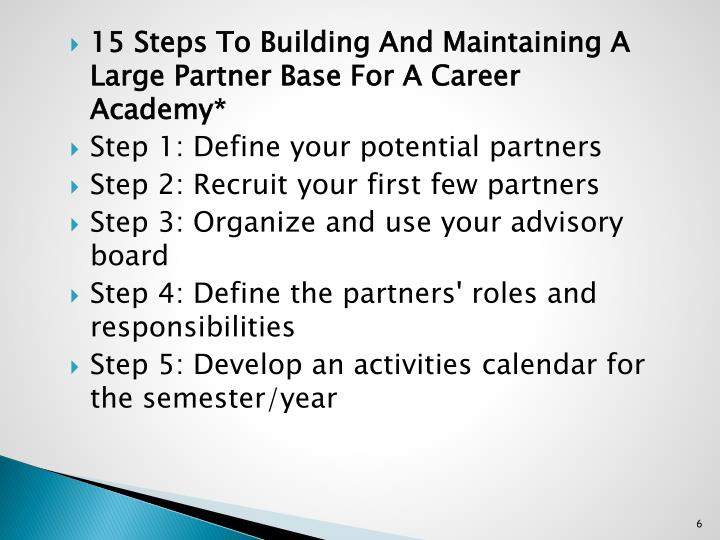 15 Steps To Building And Maintaining A Large Partner Base For A Career Academy*