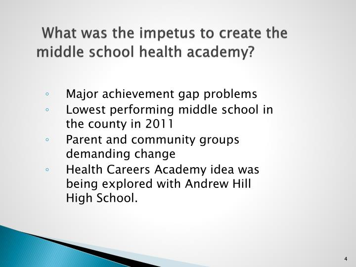 What was the impetus to create the middle school health academy?