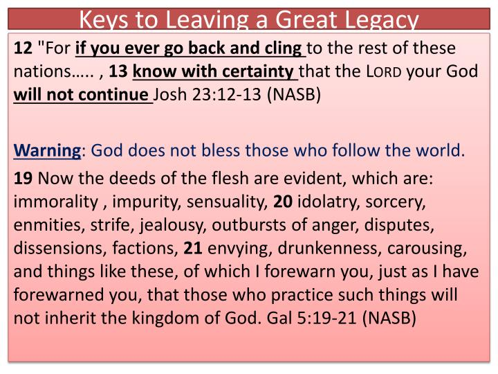 Keys to Leaving a Great Legacy
