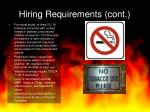 hiring requirements cont
