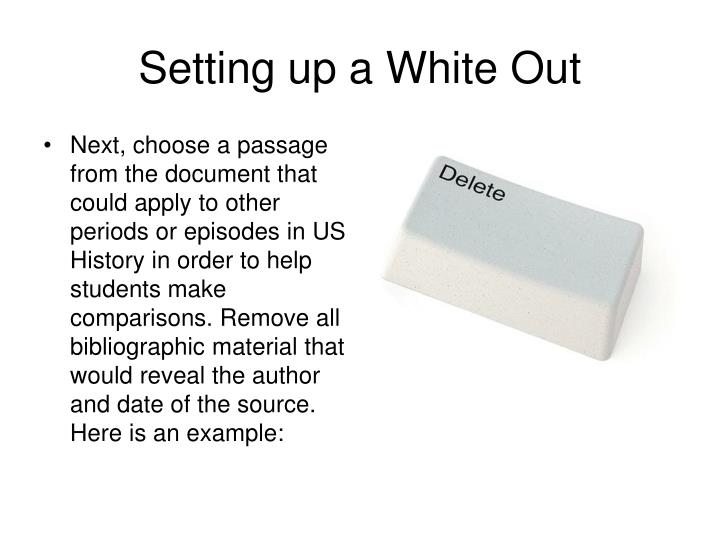 Setting up a White Out