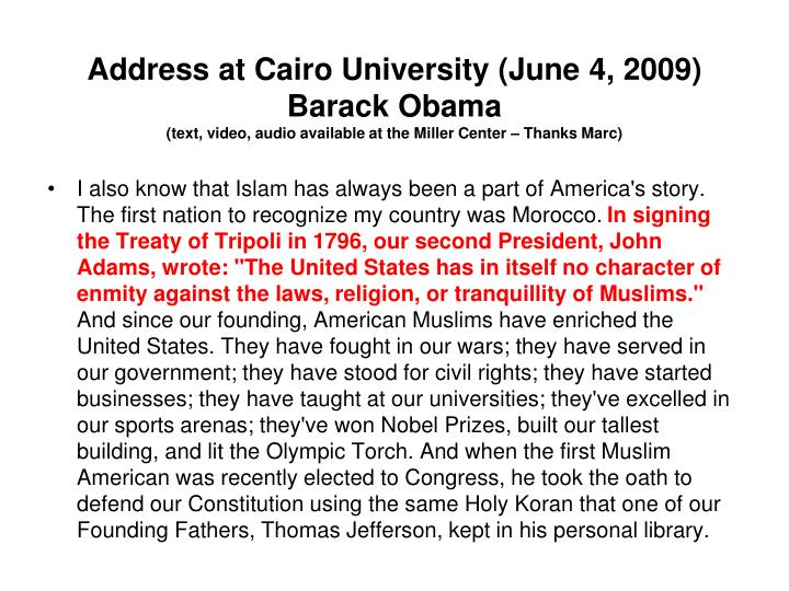 Address at Cairo University (June 4, 2009)