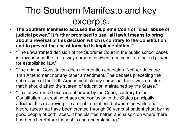 The Southern Manifesto and key excerpts.