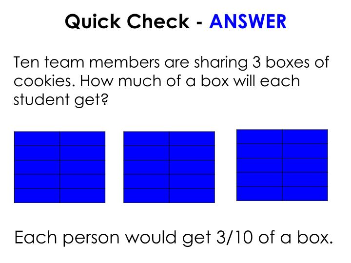 Ten team members are sharing 3 boxes of cookies. How much of a box will each student get?