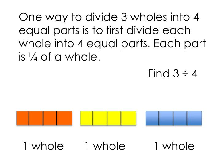 One way to divide 3 wholes into 4 equal parts is to first divide each whole into 4 equal parts. Each part is ¼ of a whole.