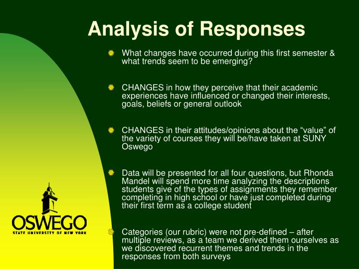 Analysis of Responses