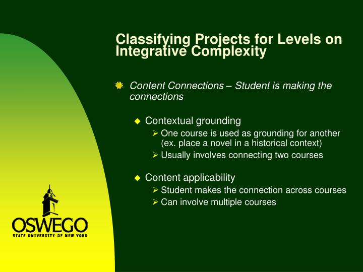 Classifying Projects for Levels on Integrative Complexity