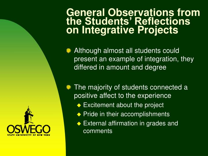General Observations from the Students' Reflections on Integrative Projects