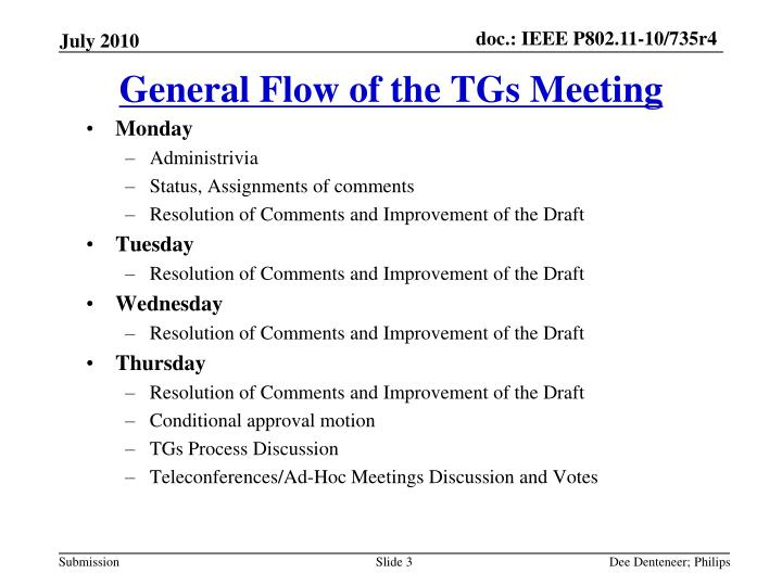 General flow of the tgs meeting