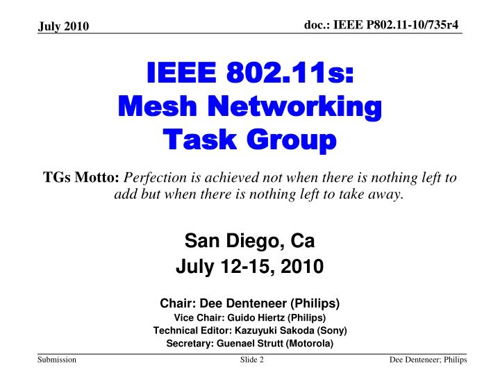 Ieee 802 11s mesh networking task group