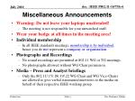 miscellaneous announcements