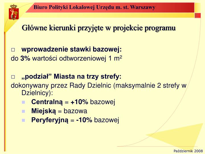Główne kierunki przyjęte w projekcie programu