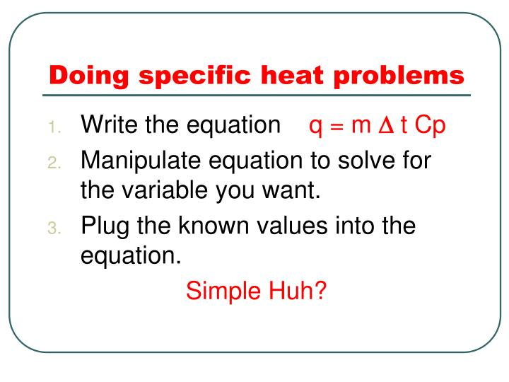 Doing specific heat problems