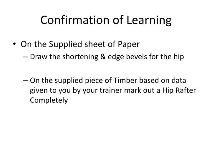 Confirmation of Learning
