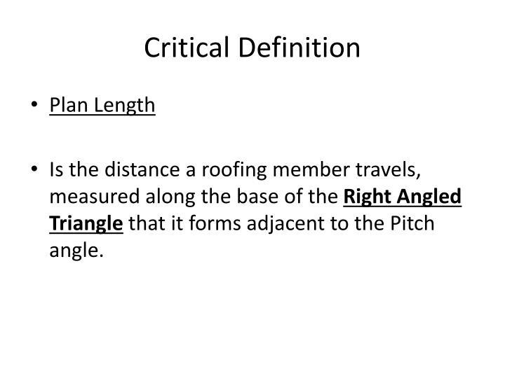 Critical Definition