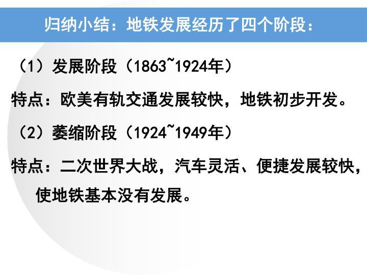 归纳小结:地铁发展经历了四个阶段: