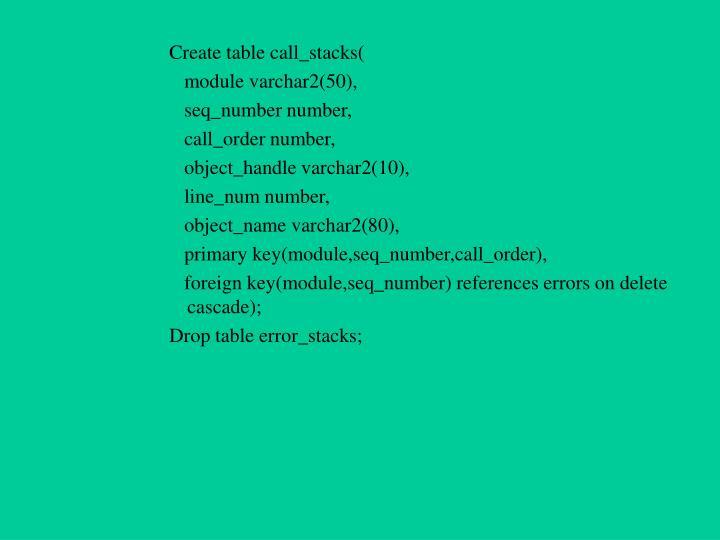 Create table call_stacks(