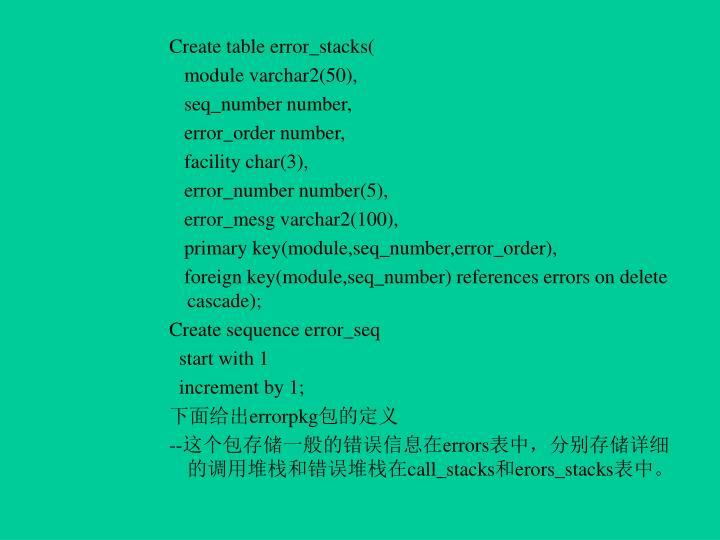 Create table error_stacks(