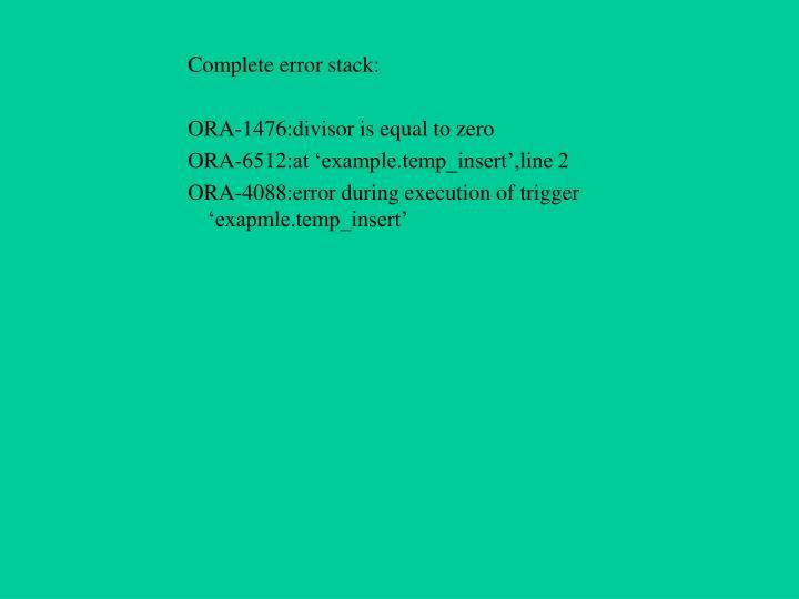 Complete error stack: