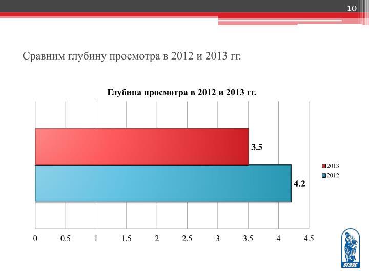Сравним глубину просмотра в 2012 и 2013 гг.