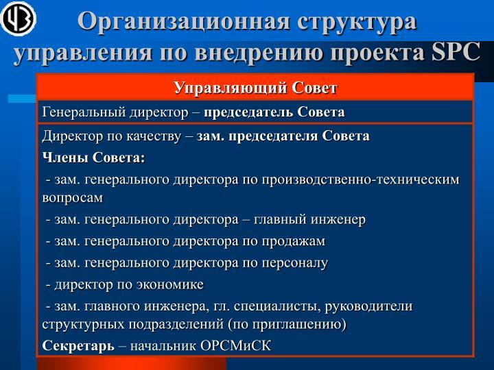 Организационная структура управления по внедрению проекта