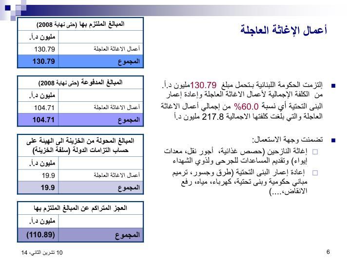 إلتزمت الحكومة اللبنانية بـتحمل مبلغ