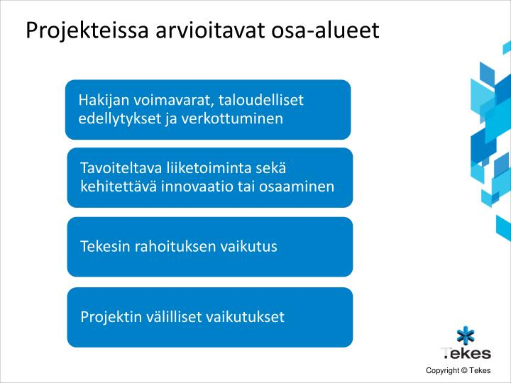 Projekteissa arvioitavat osa-alueet