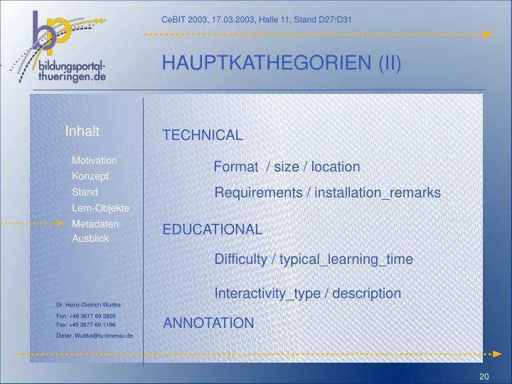 HAUPTKATHEGORIEN (II)