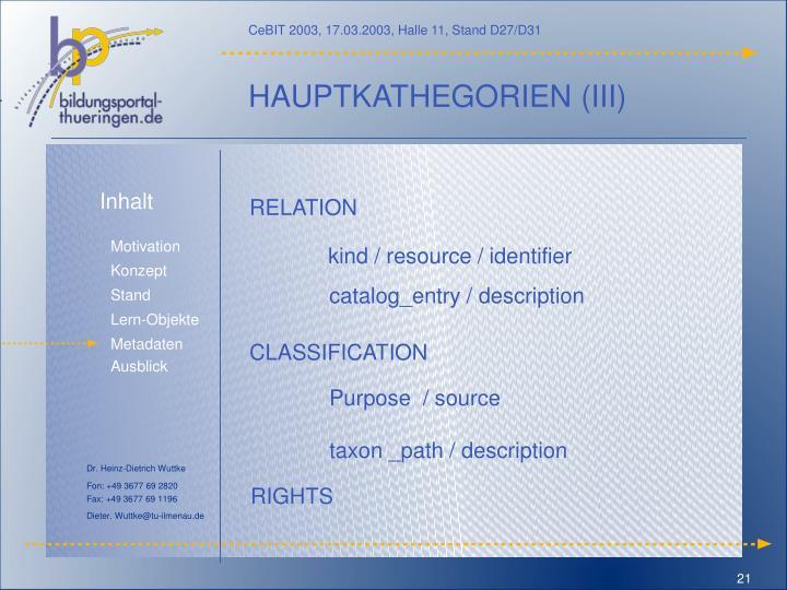 HAUPTKATHEGORIEN (III)
