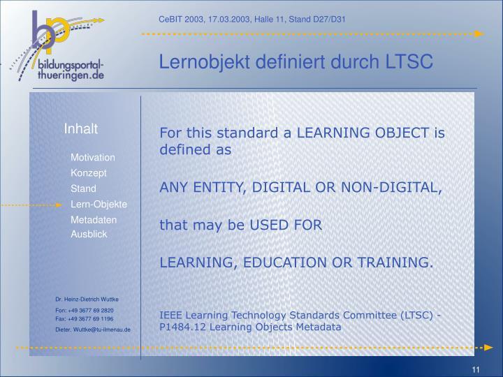 Lernobjekt definiert durch LTSC