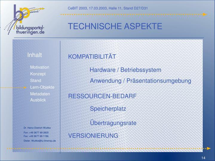 TECHNISCHE ASPEKTE