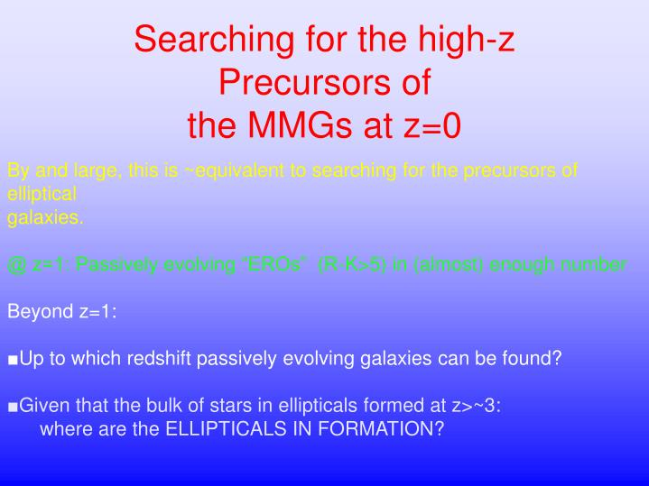 Searching for the high-z Precursors of
