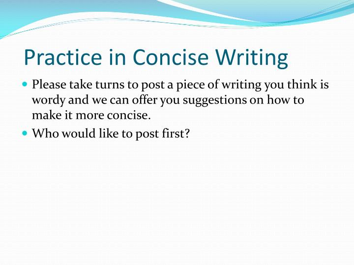Practice in Concise Writing