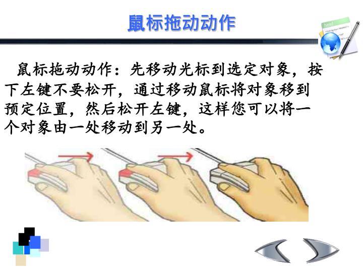鼠标拖动动作:先移动光标到选定对象,按下左键不要松开,通过移动鼠标将对象移到预定位置,然后松开左键,这样您可以将一个对象由一处移动到另一处。