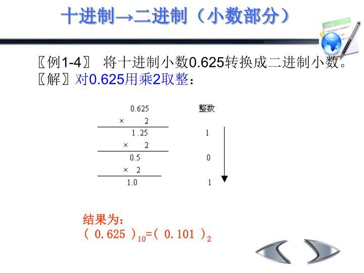 十进制→二进制(小数部分)