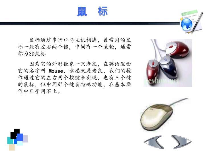 鼠标通过串行口与主机相连,最常用的鼠标一般有左右两个键,中间有一个滚轮,通常称为