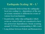 earthquake scaling m l 3