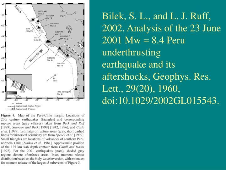 Bilek, S. L., and L. J. Ruff, 2002. Analysis of the 23 June 2001 Mw = 8.4 Peru underthrusting