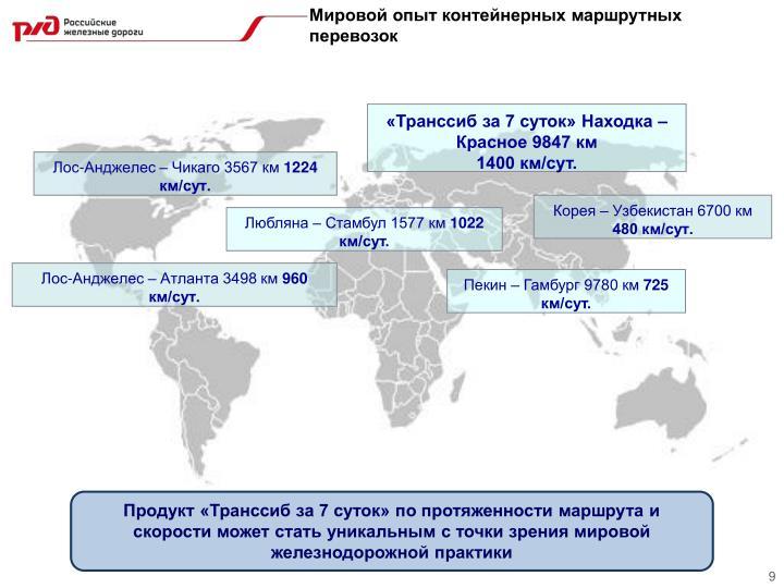 Мировой опыт контейнерных маршрутных перевозок