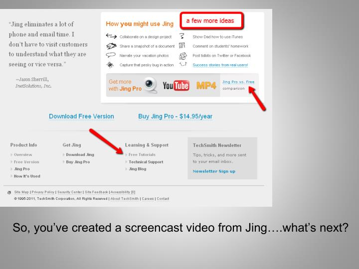 So, you've created a screencast video from Jing….what's next?